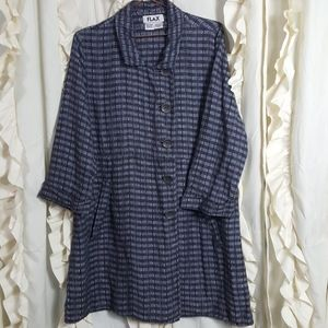 Flax linen lagenlook style check button up jacket